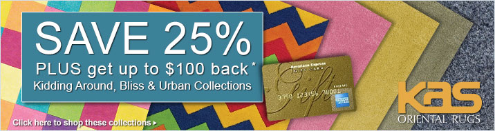 Save 25% plus get up to $100 back on the KAS Oriental Kidding Around, Bliss and Urban collections or area rugs.